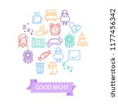 sleeping and insomnia color... | Shutterstock . vector #1177456342