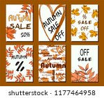 autumn sale card  illustration. ... | Shutterstock .eps vector #1177464958