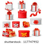 set of colorful gift boxes...