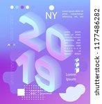 2019 neon holographic memphis... | Shutterstock .eps vector #1177486282