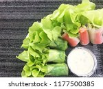 fresh salad roll and copy space ... | Shutterstock . vector #1177500385