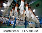 gloves factory production... | Shutterstock . vector #1177501855
