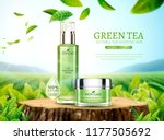 green tea skincare ads with... | Shutterstock .eps vector #1177505692