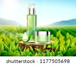 green tea skincare ads with... | Shutterstock .eps vector #1177505698