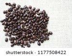 coffee beans mesh bag | Shutterstock . vector #1177508422