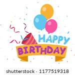 flat happy birthday background... | Shutterstock .eps vector #1177519318