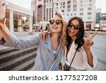 adorable blonde woman with... | Shutterstock . vector #1177527208