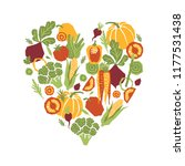 papercut style vegetables heart ... | Shutterstock . vector #1177531438