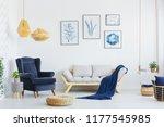 blue armchair next to a grey... | Shutterstock . vector #1177545985