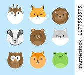 cute vector icon set of forest... | Shutterstock .eps vector #1177553575