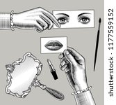 female hands holding the cards...   Shutterstock .eps vector #1177559152