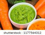 vegetable puree  carrots ...   Shutterstock . vector #1177564312