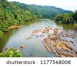 stony bed of chalakudy leading... | Shutterstock . vector #1177568008
