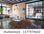 modern loft interior. 3d... | Shutterstock . vector #1177574632