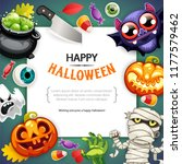 happy halloween background with ... | Shutterstock .eps vector #1177579462