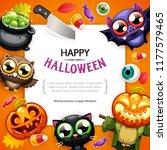 happy halloween background with ... | Shutterstock .eps vector #1177579465