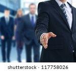 a business man with an open... | Shutterstock . vector #117758026
