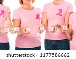 cropped shot of women in pink t ... | Shutterstock . vector #1177586662