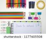 school accessories on a white...   Shutterstock . vector #1177605508