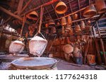 ancient method of boiling brine ... | Shutterstock . vector #1177624318