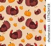 turkey bird and pumpkin vector... | Shutterstock .eps vector #1177626418