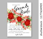 wedding card or invitation with ...   Shutterstock .eps vector #1177634905