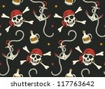 vector seamless with anchor and skulls