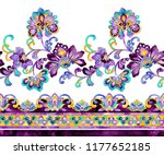 gorgeous watercolor paisley... | Shutterstock . vector #1177652185