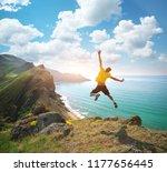 Man Happines Jump And Sea....
