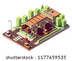 vector isometric gas station or ... | Shutterstock .eps vector #1177659535