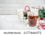 peppermint hot chocolate with... | Shutterstock . vector #1177666372
