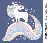 unicorn vector cute character.... | Shutterstock .eps vector #1177682452