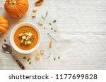 pumpkin soup and organic... | Shutterstock . vector #1177699828