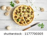 mushroom quiche pie  with... | Shutterstock . vector #1177700305