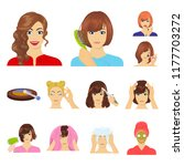 care of hair and face cartoon... | Shutterstock .eps vector #1177703272