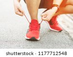 running shoes. barefoot running ... | Shutterstock . vector #1177712548