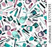 cosmetics stuff seamless pattern | Shutterstock .eps vector #1177719295