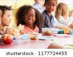school kids eating packed... | Shutterstock . vector #1177724455