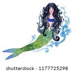 mermaid. watercolor hand... | Shutterstock . vector #1177725298