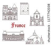 france landmarks and famous... | Shutterstock .eps vector #1177742038