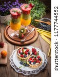 fresh homemade fruit tart with... | Shutterstock . vector #1177744552