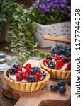 fresh homemade fruit tart with... | Shutterstock . vector #1177744558