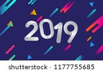 happy new year 2019 colorful... | Shutterstock .eps vector #1177755685
