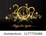 happy new year 2019   new year... | Shutterstock .eps vector #1177755688
