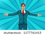 businessman widely spread his... | Shutterstock .eps vector #1177761415