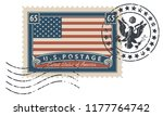 postage stamp with inscriptions ... | Shutterstock .eps vector #1177764742