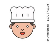 cute chef head filled outline... | Shutterstock .eps vector #1177771105