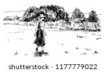 woman on the meadow. | Shutterstock .eps vector #1177779022