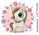 cute cartoon unicorn on a... | Shutterstock .eps vector #1177791265