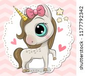 cartoon unicorn on a pink... | Shutterstock .eps vector #1177792342